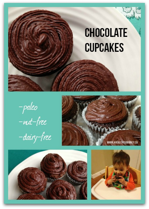 Paleo Chocolate Cupcake collage