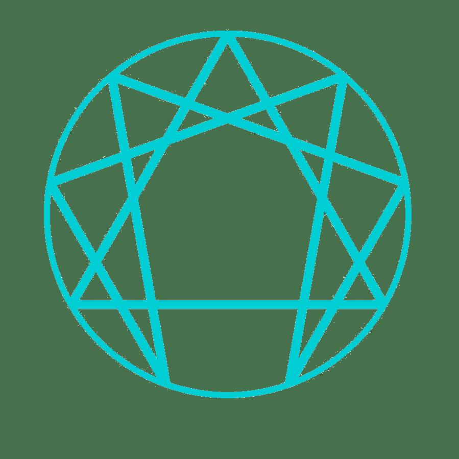 symbol of enneagram in cyan color lines